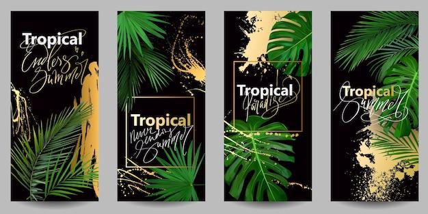 黒の背景に熱帯の葉と金色の水しぶきとスマートフォン用のスタイリッシュな壁紙