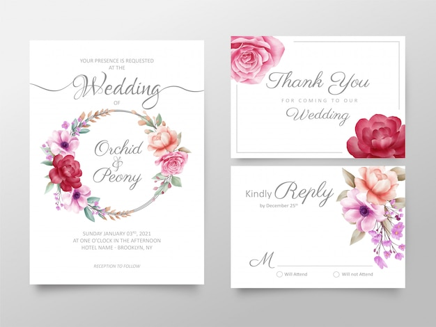 Stylish watercolor floral wedding invitation cards template set