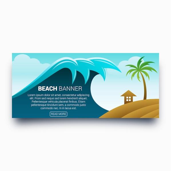 Stylish wave beach banner