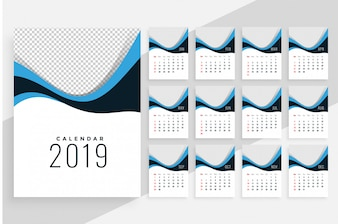 Stylish wavy 2019 calendar design