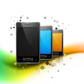 Stylish wavy background with mobiles