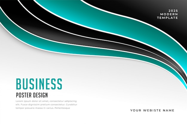 Stylish wavy business presentation template design
