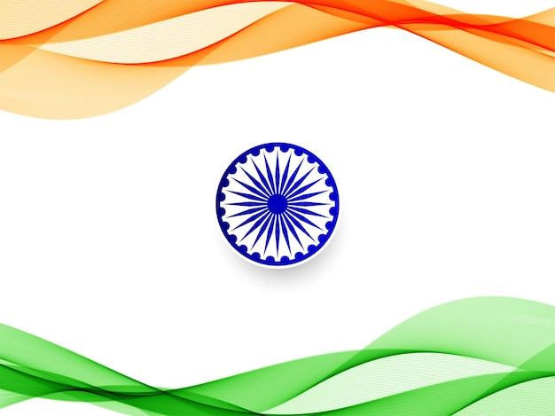 Stylish wavy indian flag background design