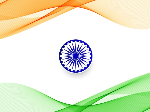 Stylish wavy indian flag  background
