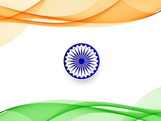 Stylish wavy indian flag design background