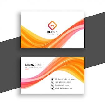 Stylish wavy white business card template
