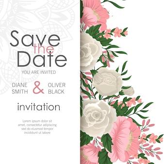 花でスタイリッシュな結婚式のフレーム。