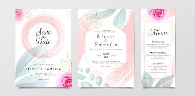 수채화와 꽃 장식으로 설정 세련된 결혼식 초대 카드 템플릿