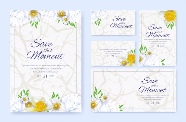 Stylish wedding invitation cards templates set.