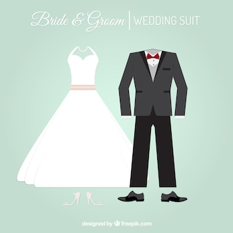 Stylish wedding suit and bride dress