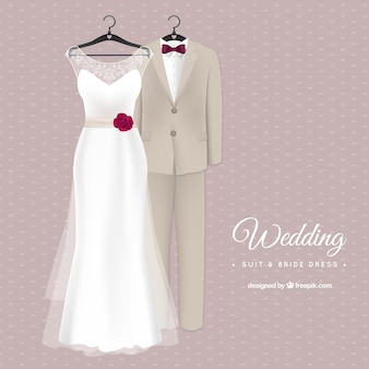 Stylish wedding suit and bride dress