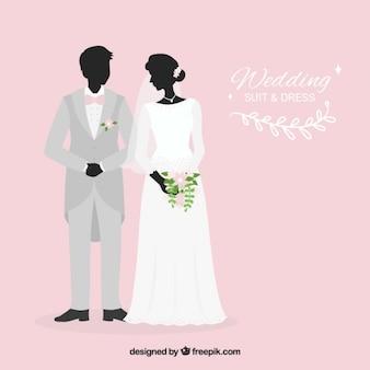 Stylish wedding suit and dress