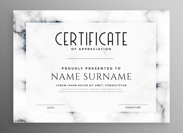 Stylish white certificate with marble texture