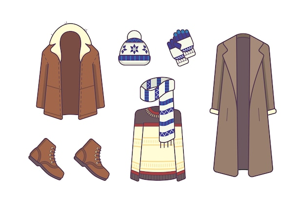 Стильная зимняя одежда и аксессуары. концепция стиля и моды. верхняя одежда сезонная линия искусства моды иллюстрации.