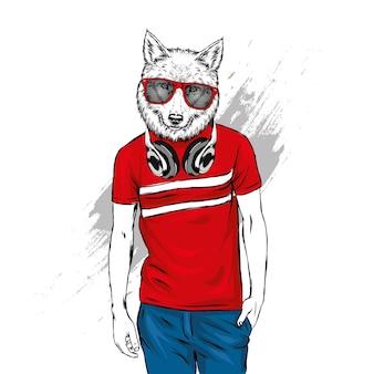 티셔츠에 세련된 늑대 프리미엄 벡터