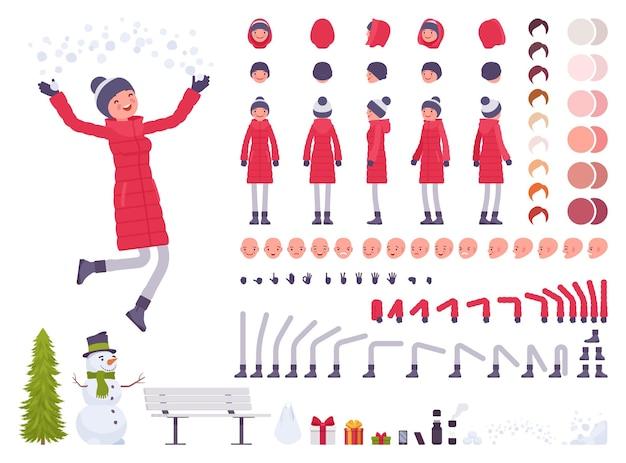 赤いダウンジャケットの服のキャラクター作成セットでスタイリッシュな女性