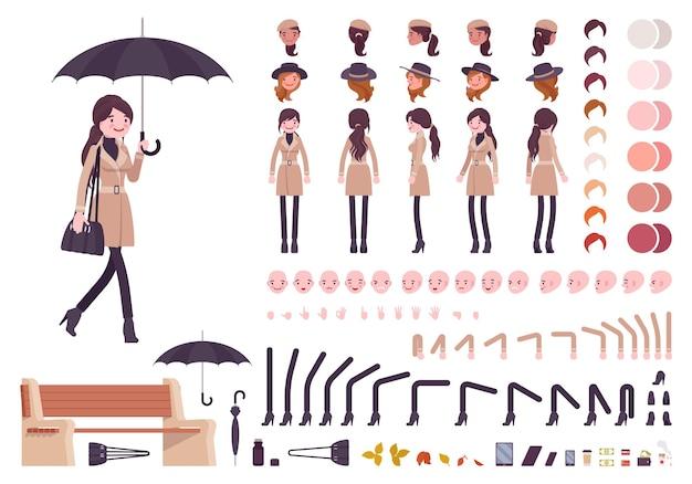 傘の秋のベージュのコートのキャラクター作成セット秋の衣装を持つスタイリッシュな女性