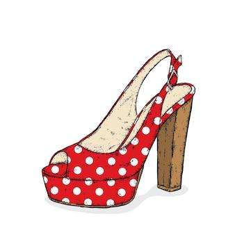 하이힐이 있는 세련된 여성 신발