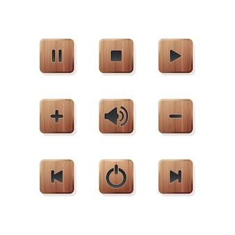 メディアとオーディオプレーヤー用のスタイリッシュな木製ボタンセット。メディアプレーヤーのアイコンのコレクション。プレーヤーアイコンボタン。図