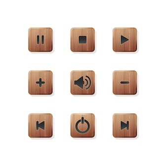 Stylish wooden buttons set for media and audio player. media player icons collection. player icons buttons. illustration