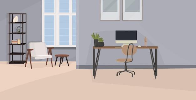 Стильное рабочее место с монитором компьютера в офисе современный интерьер кабинета