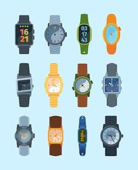 Стильные наручные часы набор иллюстрации