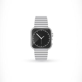 Stylish wristwatch with metallic bracelet Premium Vector