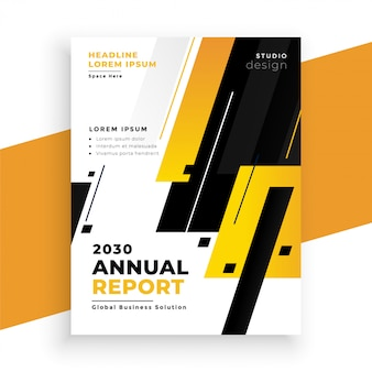 Stylish yellow annual report business flyer design template