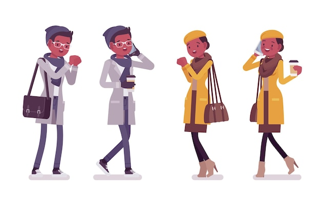 スタイリッシュな若い黒人男性と女性のイラスト