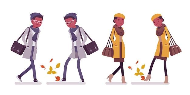 秋のイラストを歩くスタイリッシュな若い黒人男性と女性
