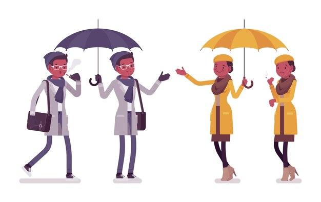 傘のイラストとスタイリッシュな若い黒人男性と女性