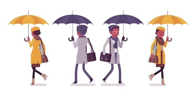 秋の服のイラストで歩く傘を持つスタイリッシュな若い黒人男性と女性