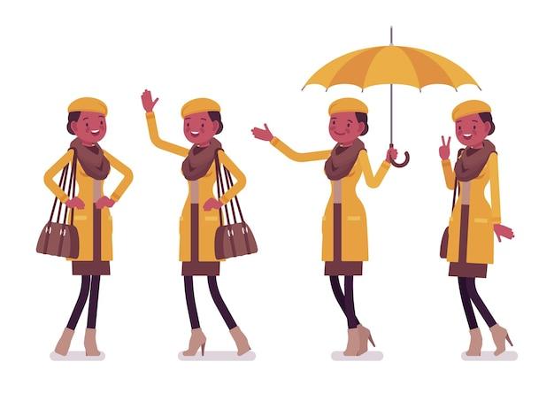 가을 옷 일러스트를 입고 세련된 젊은 흑인 여성 긍정적 인 감정