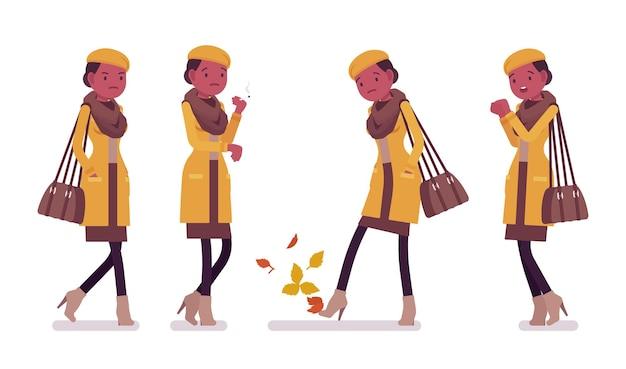 秋の服のイラストを着て寒さを感じて喫煙スタイリッシュな若い黒人女性
