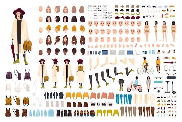 Stylish young girl creation set or diy kit. collection of body parts, trendy clothes, fashionable accessories, faces, postures. female cartoon character. front, side, back views. vector illustration.