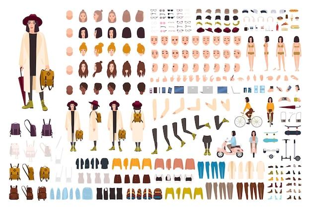 Набор для создания стильной молодой девушки или набор для рукоделия. коллекция частей тела, модной одежды, модных аксессуаров, лиц, поз. женский мультипликационный персонаж. вид спереди, сбоку, сзади. векторная иллюстрация.