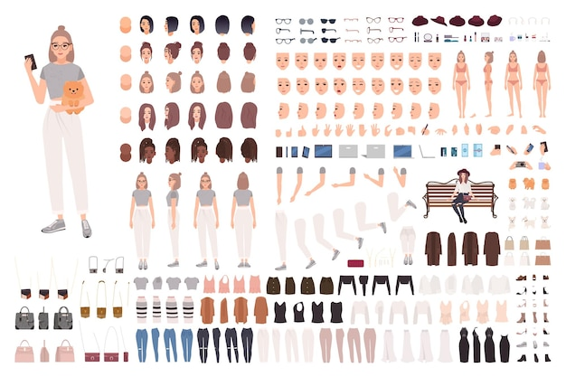 Stylish young woman animation set or constructor kit. collection of body parts, gestures, trendy clothes and accessories.