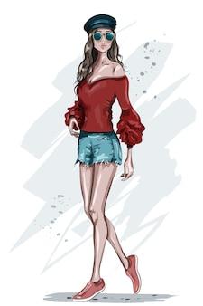 Стильная молодая женщина в кепке иллюстрации
