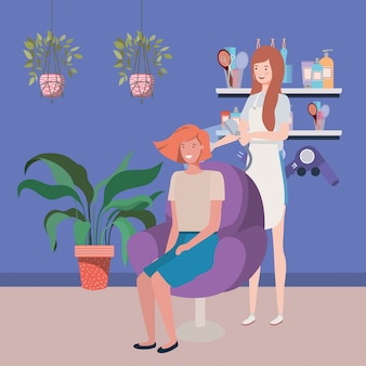 Stylist fixing hair to client in the salon characters