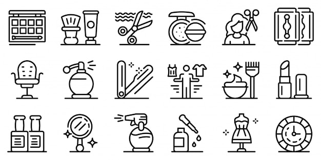 Stylist icons set, outline style