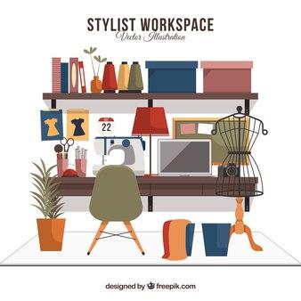 Рабочее пространство стилиста с плоским дизайном