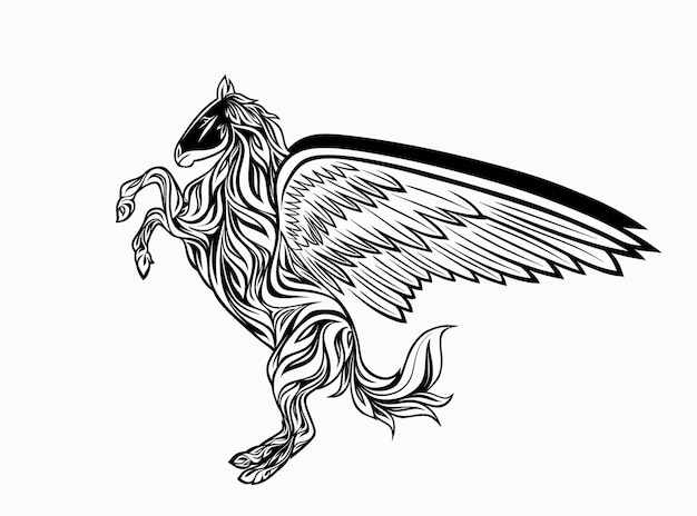 Styliz of a pegasus in the style of zentangle.