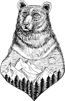Stylized bears head with nature landscape  ink hand drawn