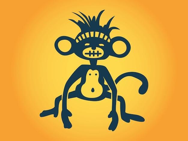 Stylized cartoon belly monkey vector
