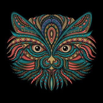 Stylized cat in ethnic style