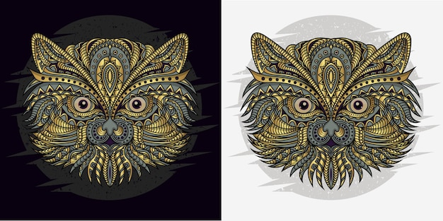 Stylized cat in ethnic vector black and white background