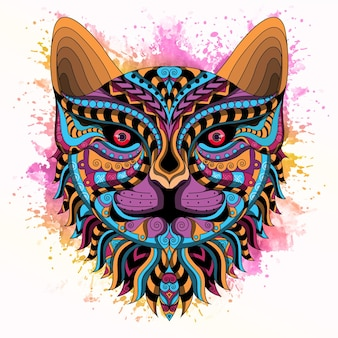 Stylized cat in ethnic vector white background