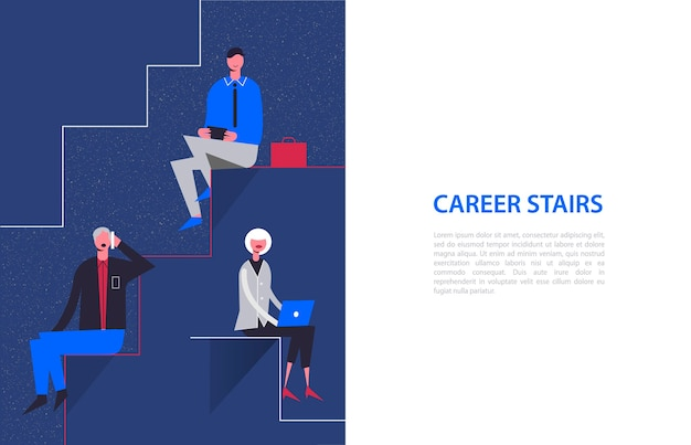 Stylized characters. business illustration. career stairs concept. businessmen and businesswoman sitting on different levels