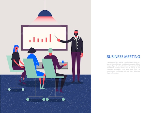 Stylized characters. business illustration. meeting, conference, analysis, working group. people sitting in the office