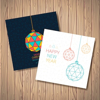 Stylized christmas balls with pattern of triangles, trees, stars